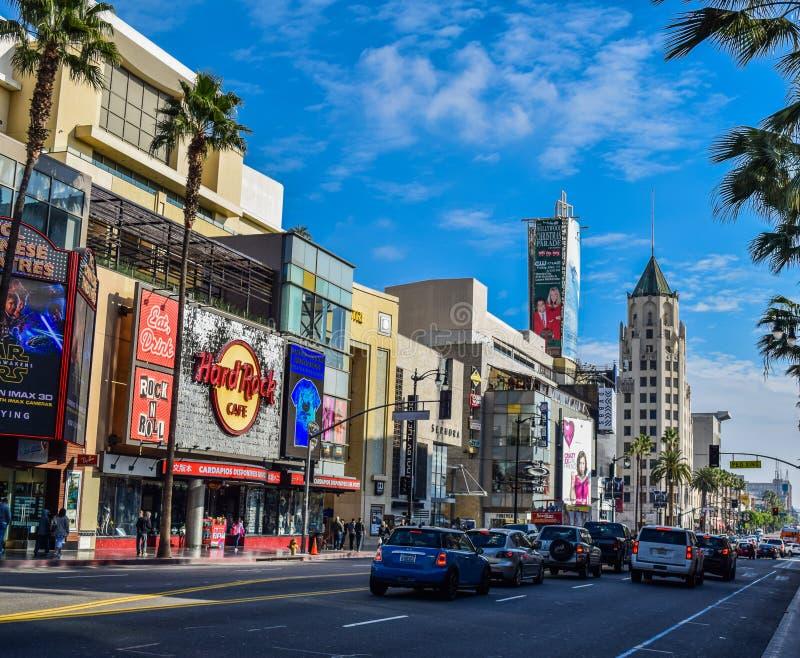 好莱坞大道的好莱坞大道视图Grauman的中国剧院 库存图片
