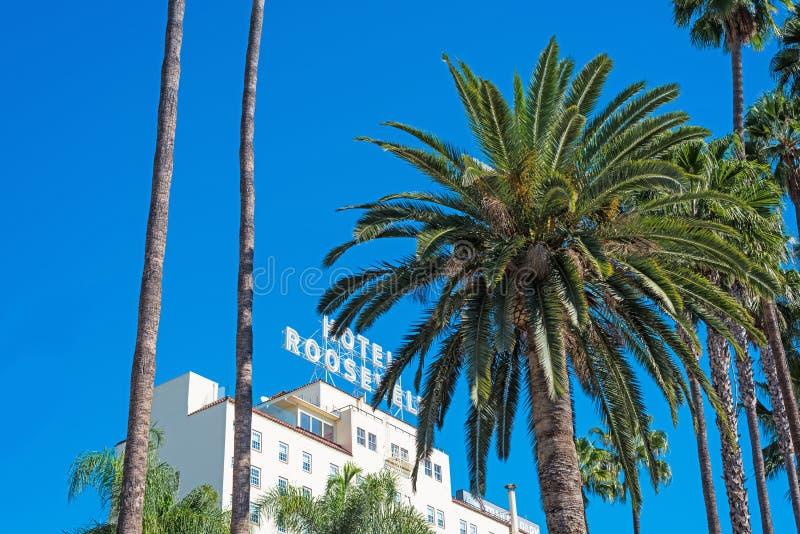 好莱坞大道的罗斯福旅馆 免版税库存图片