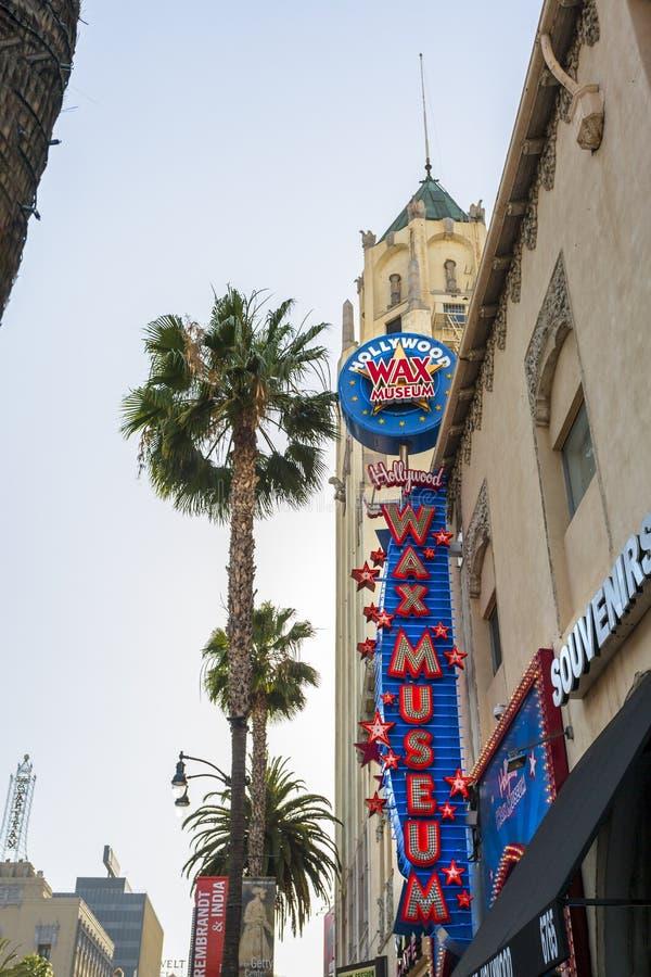 好莱坞大道的,好莱坞,洛杉矶,加利福尼亚,美国,北美洲蜡博物馆 免版税图库摄影