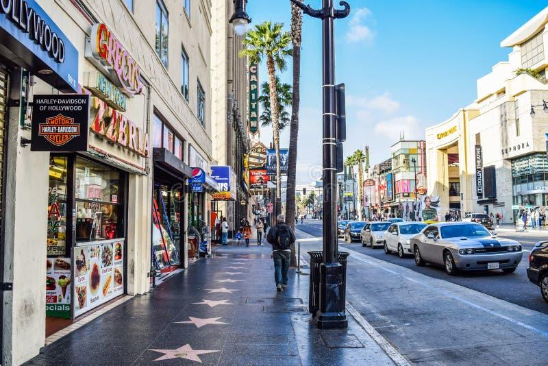 好莱坞大道看法日落的 库存图片