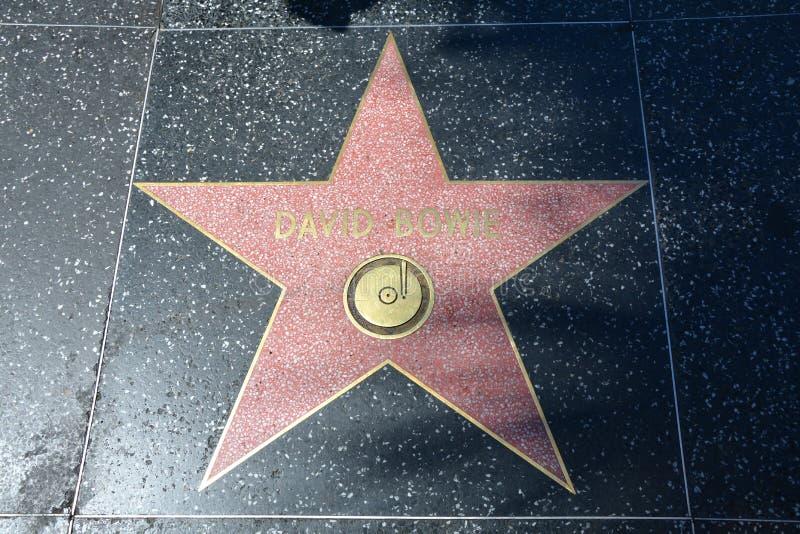 好莱坞星光大道大卫・鲍伊星 免版税库存照片