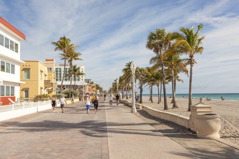 好莱坞海滩宽广的步行,佛罗里达 库存照片