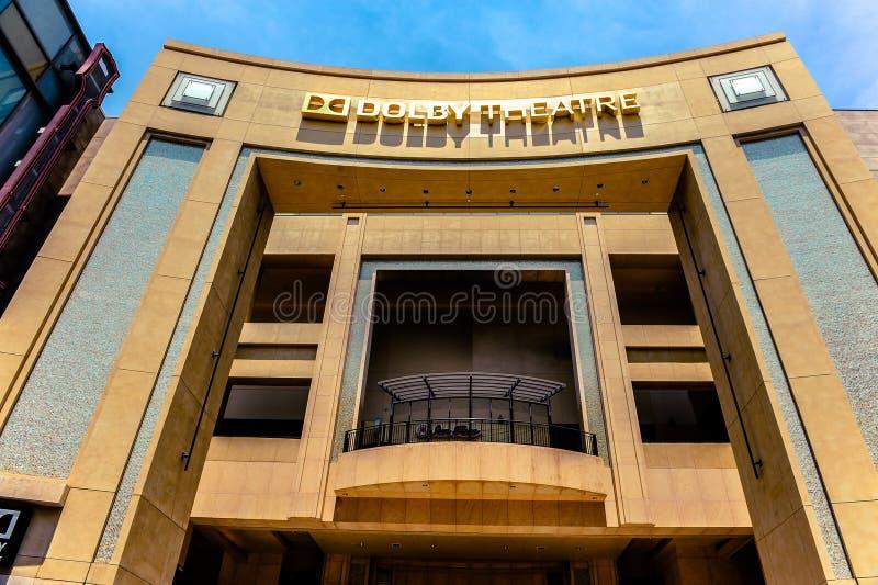 好莱坞/洛杉矶/California/USA - 07 19 2013年:杜比剧院大厦的门面 库存照片