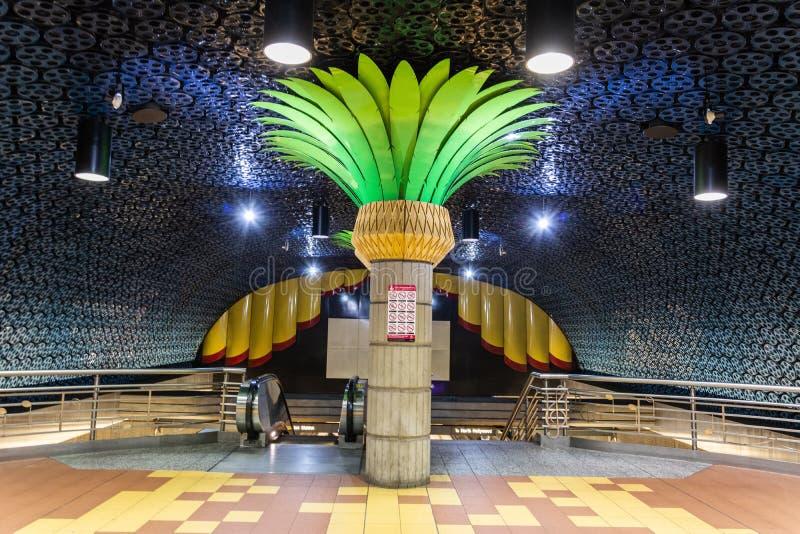 好莱坞/藤地铁的内部看法在洛杉矶,加州 库存图片