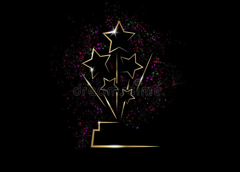 好莱坞Oscars电影党金星奖给仪式的雕象奖 金黄星得奖的象概念,剪影雕象象 向量例证
