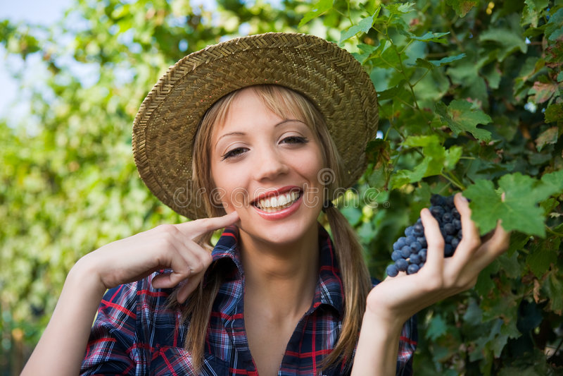 好葡萄现有量农民符号妇女年轻人 免版税库存图片