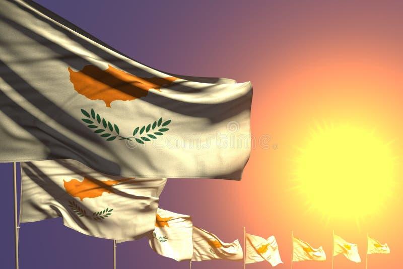 好许多塞浦路斯旗子在与空间的日落安置了对角您的内容的-所有假日旗子3d例证 向量例证