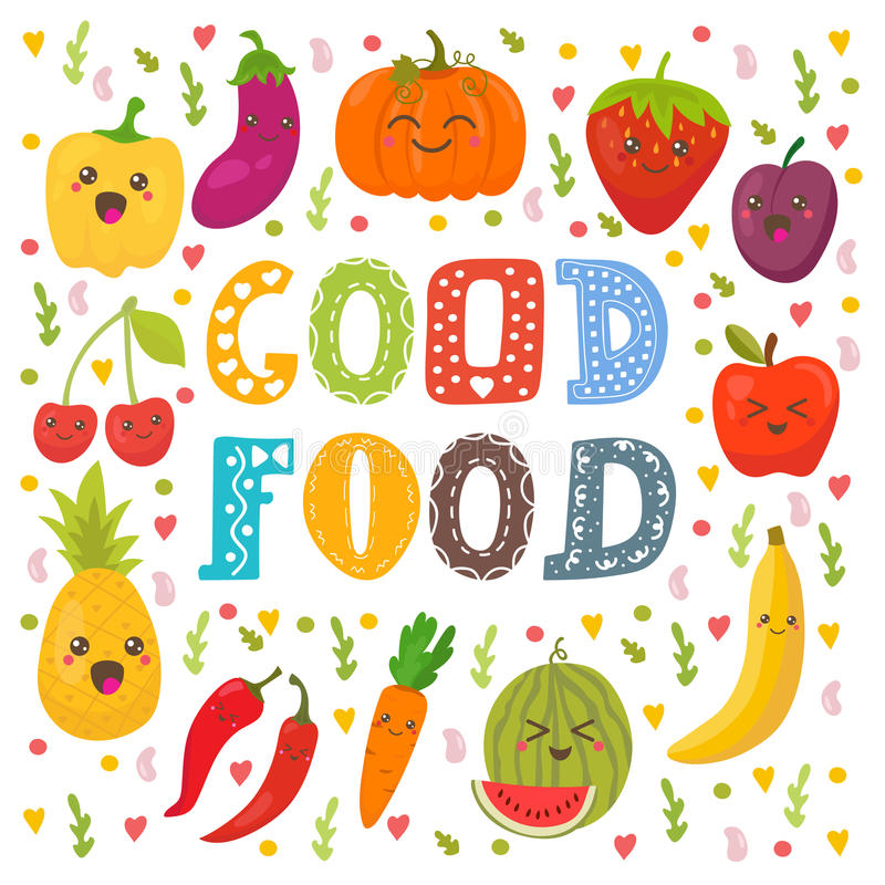 好食物 逗人喜爱的愉快的水果和蔬菜在传染媒介 皇族释放例证