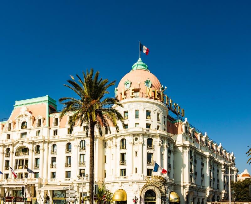 好,法国- 2019年 旅馆Negresco是散步des的Anglais著名豪华旅馆在尼斯 免版税库存图片