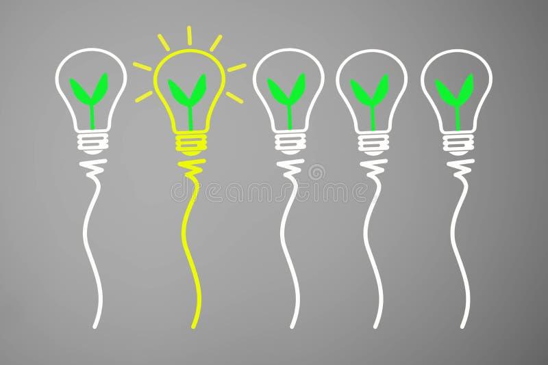 好主意和创新概念,与轻的bul的绿色植物 库存例证