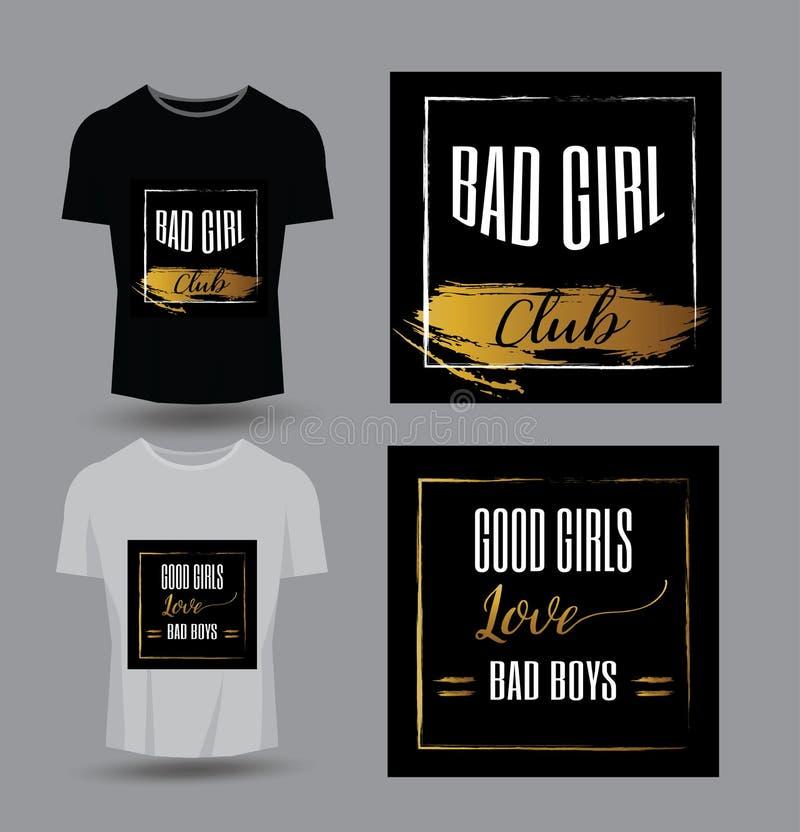 好T恤杉印刷品的,产品,小册子,盖子,海报,补丁,织品,岩石样式,葡萄酒女孩爱坏男孩印刷术 向量例证