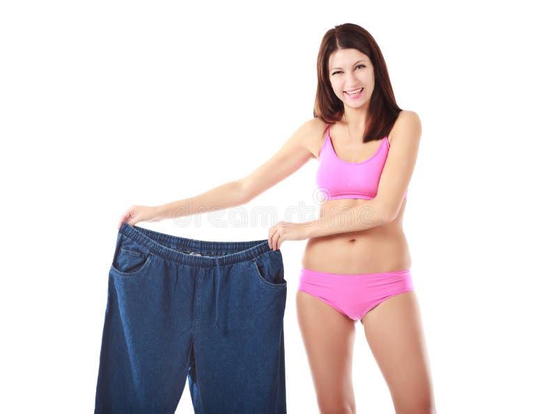 如何丢失显示的重量妇女 免版税库存图片
