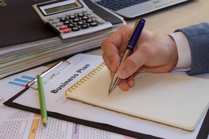 如何做经营计划 写企业提案 免版税库存照片