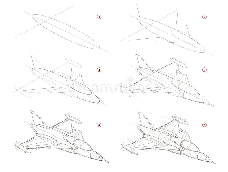 如何创造逐步的铅笔图 页显示如何学会逐步的凹道意想不到的空间军舰 向量例证