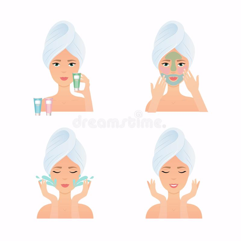 如何应用多面膜 面孔关心惯例 女孩关心H 向量例证