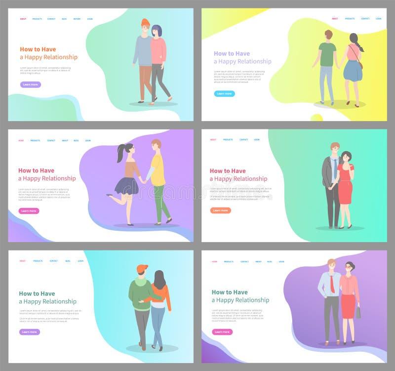 如何建立愉快的关系男人和妇女集合 库存例证
