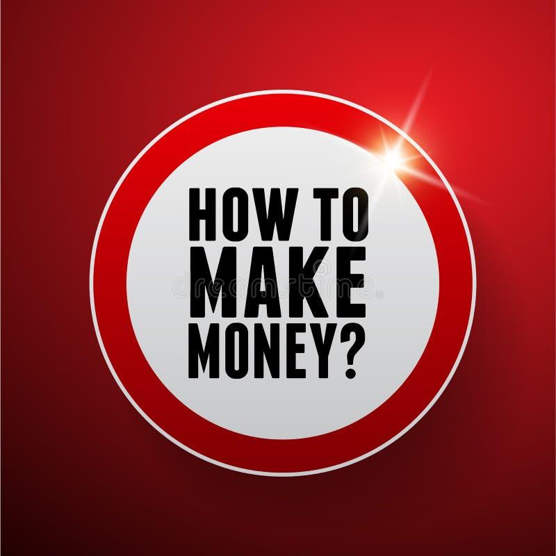 如何挣金钱?按钮 向量例证