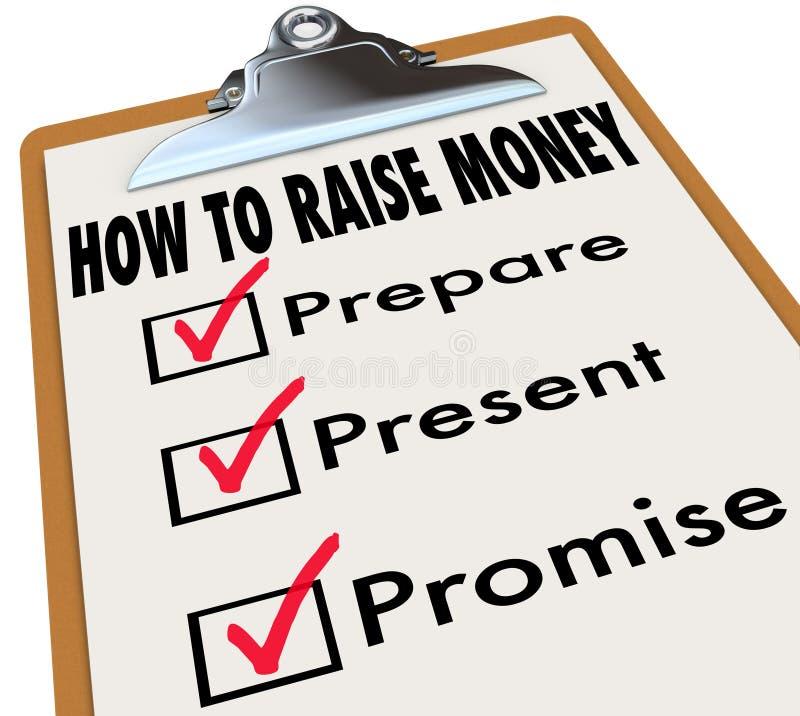 如何提高金钱剪贴板清单风险投资新的Busin 向量例证