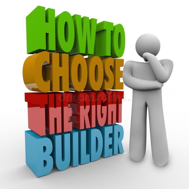 如何选择正确的建造者思想家问题忠告合同 库存例证
