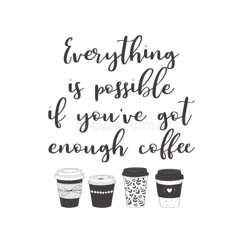 如果您有足够的咖啡,一切是可能的 皇族释放例证