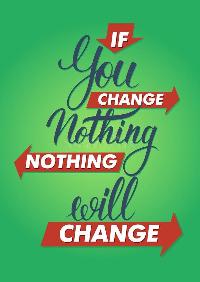 如果您什么都不改变,什么都不会改变 字法标志,印刷术, T恤杉图表 皇族释放例证