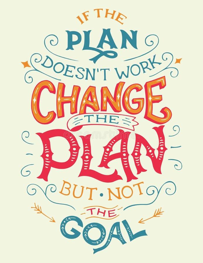 如果计划doesn ` t工作,改变计划行情 向量例证