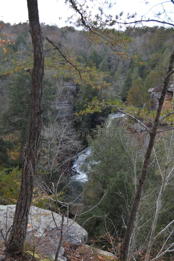 如看从在秋天上的峭壁水流量到下面河里 免版税库存照片