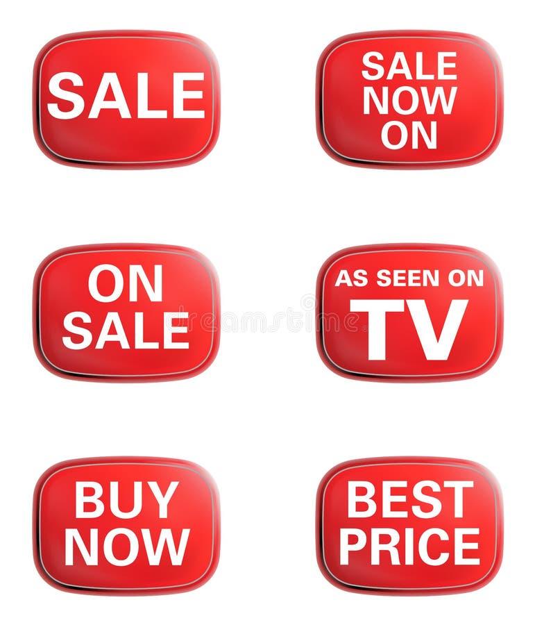 如被看见在电视,销售额。 给图标集做广告 库存例证