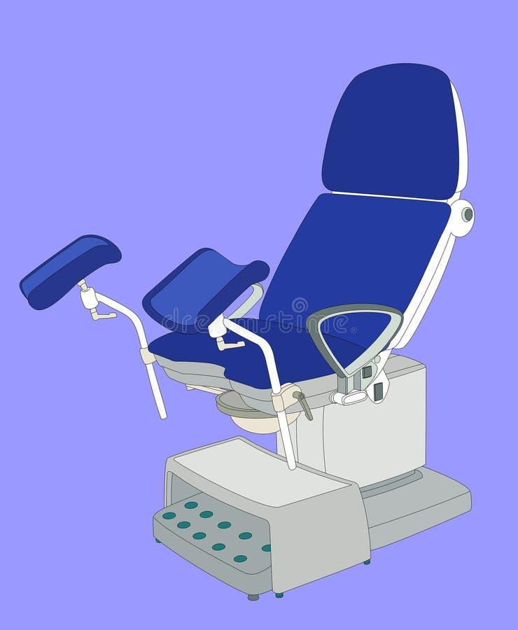 妇产科椅子身体检查例证 图库摄影