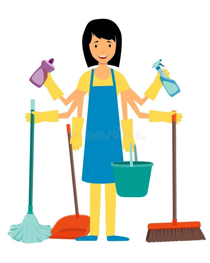 主妇和清洁工具 皇族释放例证