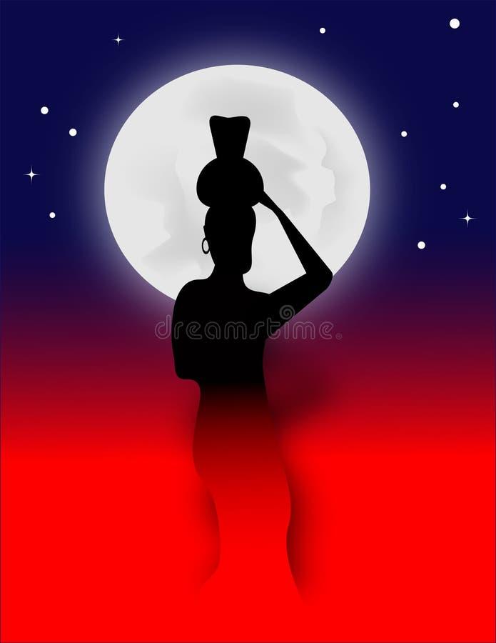 妇女、瓶子和月亮 向量例证