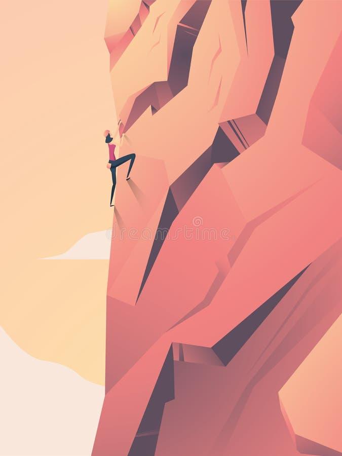 妇女上升的岩石墙壁传染媒介动画片 力量,挑战,强有力的女性的标志 库存例证