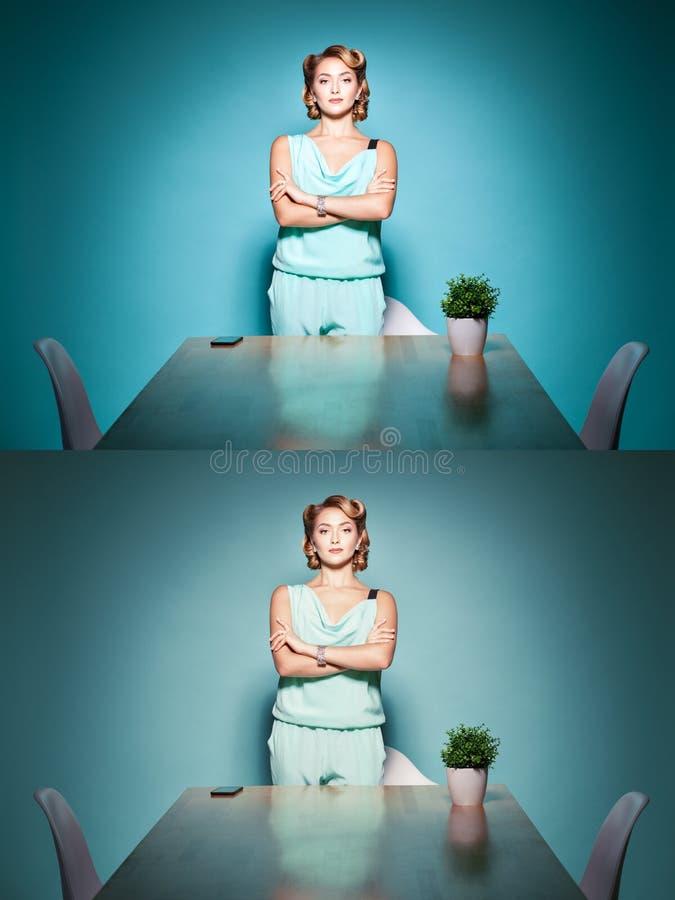 妇女上司愉快的面孔 免版税图库摄影