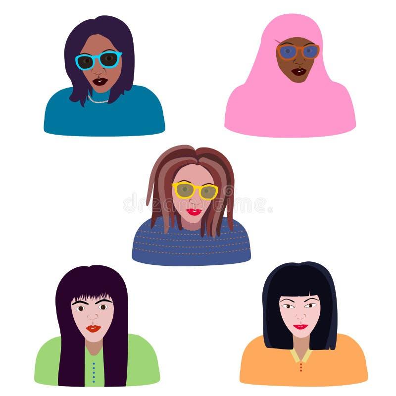妇女不同的裔和宗教,穆斯林,白种人,黑人,亚裔女孩画象  具体化和时尚画象 库存例证