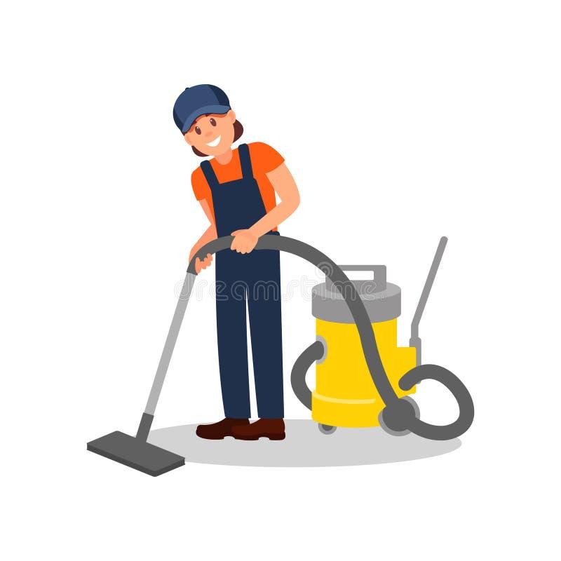 妇女与专业吸尘器的清洁地板 运转的制服的年轻快乐的女孩 平的传染媒介元素为 库存例证