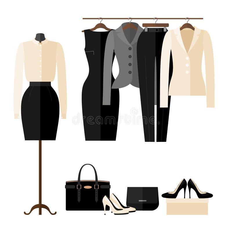 妇女与事务的服装店内部在平的样式穿衣 向量例证