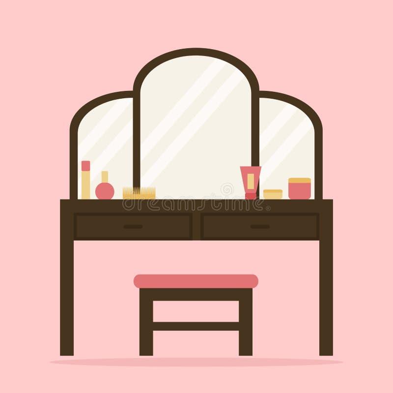 妇女与大镜子、椅子和化妆用品的梳妆台 库存例证
