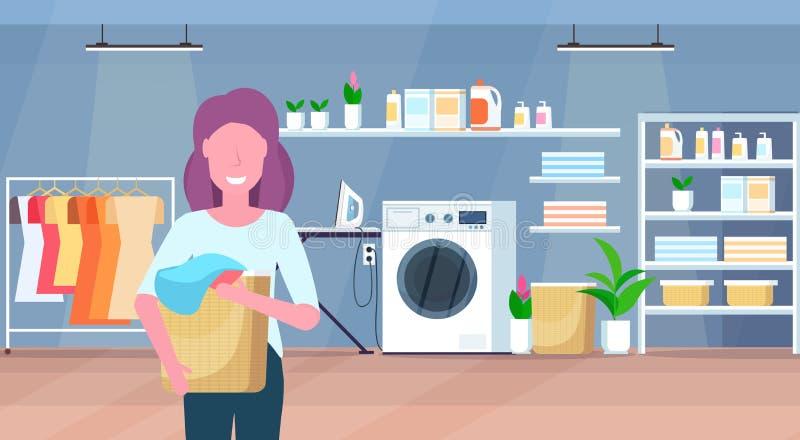 妇女与平展做家事洗衣房内部卡通人物画象的肮脏的衣裳主妇的藏品篮子 向量例证