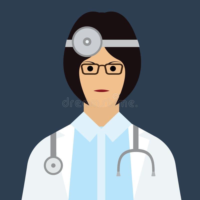 妇女与平的颜色样式的医生象 库存例证