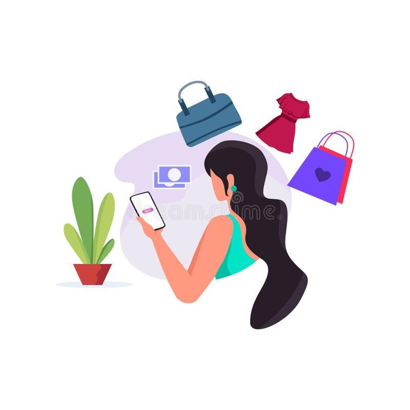 妇女与智能手机的网络购物交易 向量例证