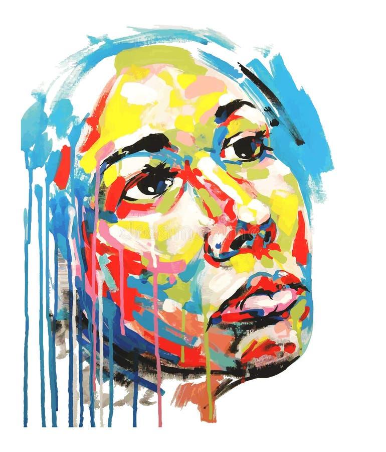 妇女丙烯酸酯的绘画颜色画象  库存例证