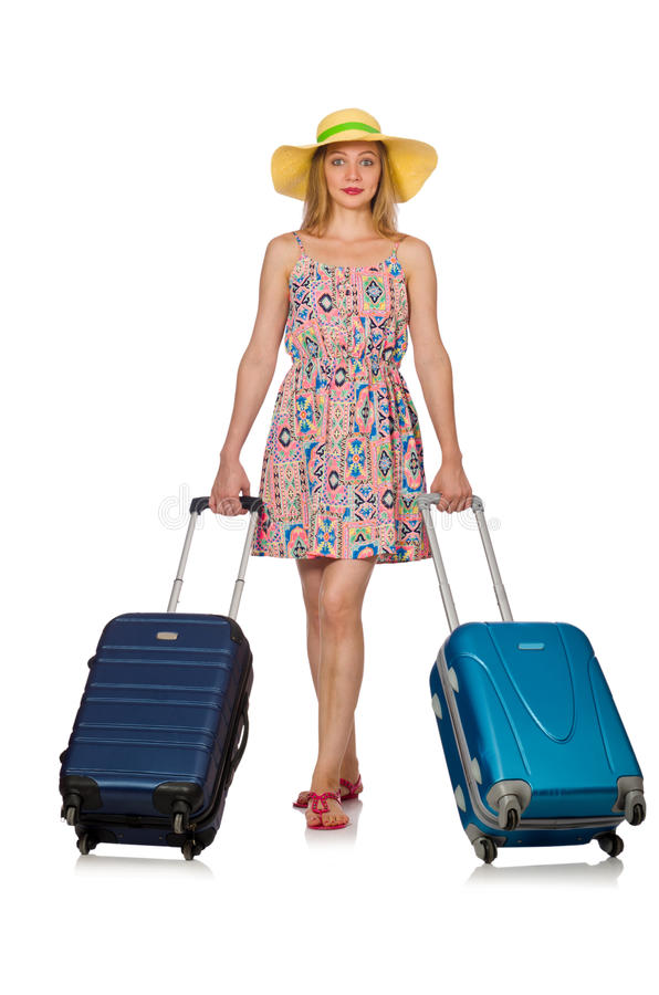 Download 妇女为在白色的暑假做准备 库存图片. 图片 包括有 迷人, 方式, glamor, 背包, beautifuler - 72361419