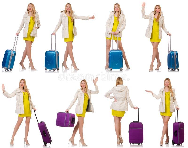 Download 妇女为带着手提箱的假期做准备在白色 库存图片. 图片 包括有 旅游业, beautifuler, 冷颤, 愉快 - 72363993