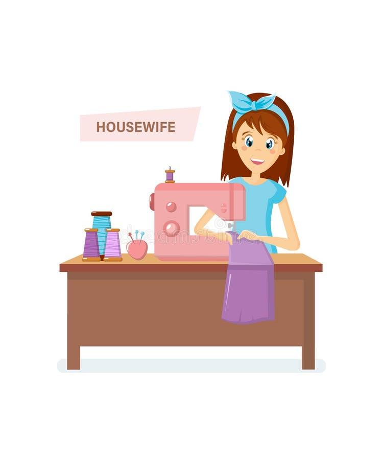 妇女主妇字符 妇女主妇编织,缝合坐在桌上 向量例证