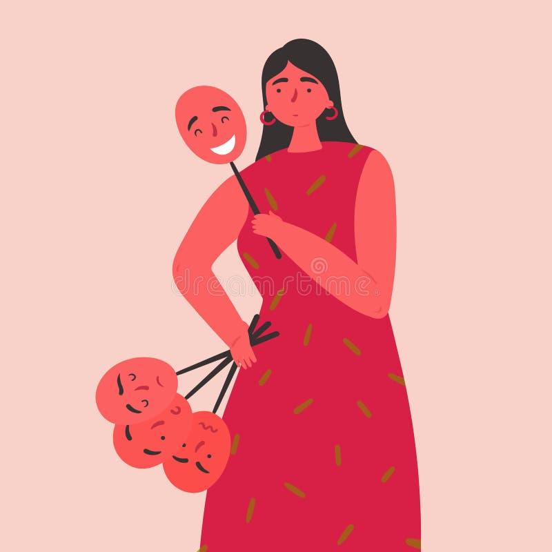 妇女举行和戴着用不同的情感的面具 向量例证