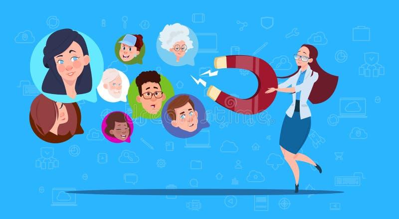 妇女举行磁铁混合种族闲谈起泡,网站支持真正协助或流动应用,拉扯概念 库存例证