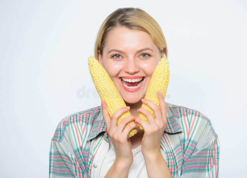 妇女举行黄色玉米棒子白色背景 玉米收获女孩拿着成熟玉米 食物素食主义者和健康自然 免版税库存图片
