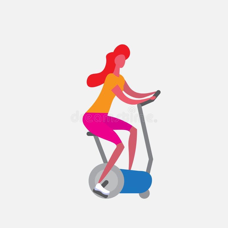 妇女乘坐固定式自行车漫画人物体育女性活动的训练自行车隔绝了健康 皇族释放例证