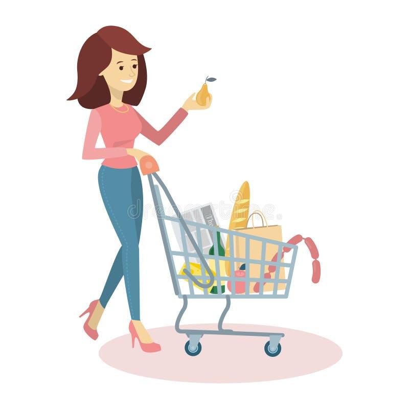 妇女买的杂货 向量例证