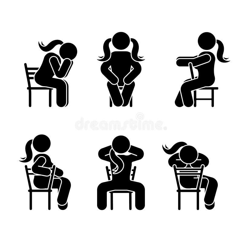妇女人各种各样的坐姿 姿势棍子形象 导航在白色的供以座位的人象标志标志图表 库存例证